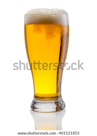 Glass of beer isolated on a white background. - stock photo