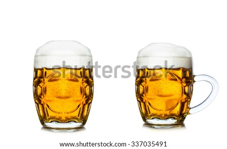 Glass of beer isolated on white background. - stock photo