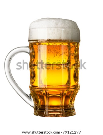 Glass of beer isolated on white background