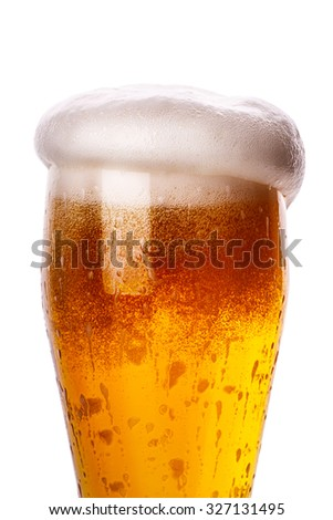 glass of beer Isolated on white background Clipping Path