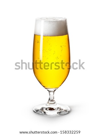 Glass of beer isolated on white background. Clipping path included.
