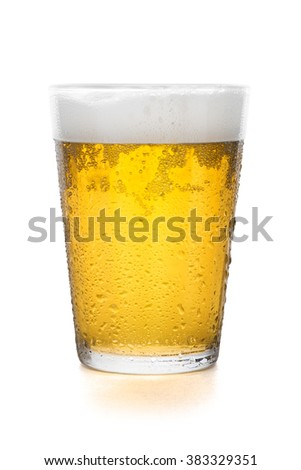 Glass of beer isolated on white background with clipping path - stock photo