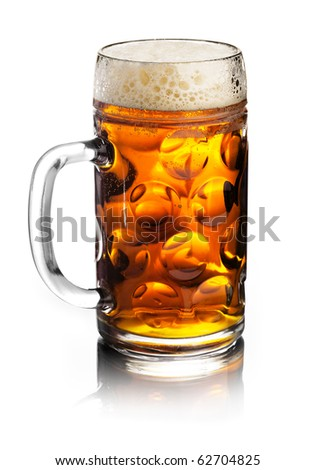 glass of beer isolated over a white background