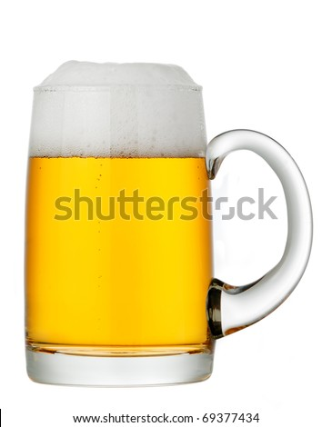 glass of beer on a white background - stock photo