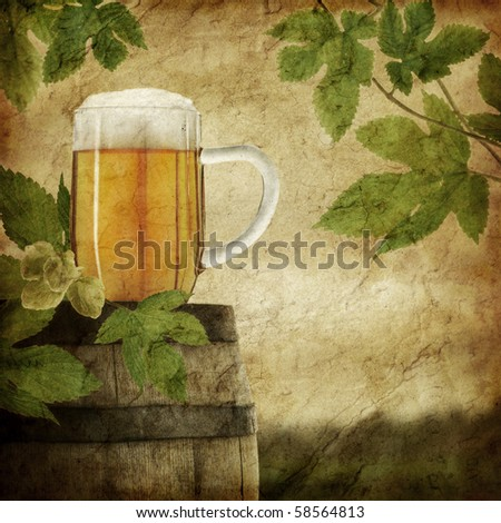 Glass of beer on old barrel and hop plant, grunge image - stock photo