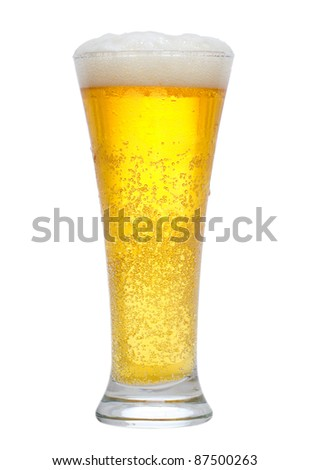 glass of beer on the white background