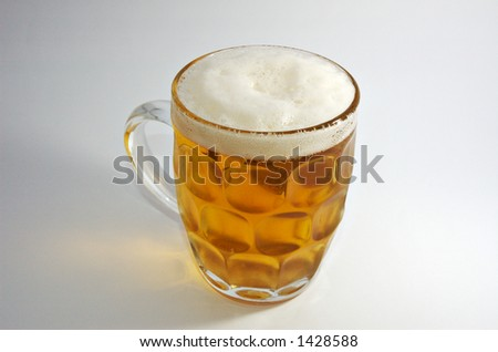 glass of beer on white - stock photo