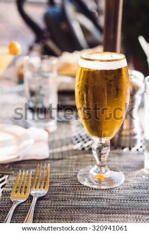 Glass of beer outdoors - stock photo