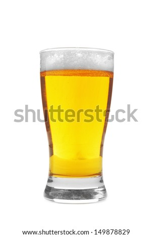 Glass of beer over white background. Lager in glass.