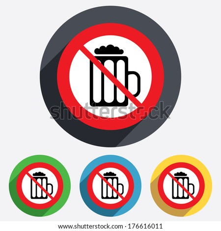Glass of beer sign icon. Not allowed Alcohol drink symbol. Red circle prohibition sign. Stop flat symbol. - stock photo