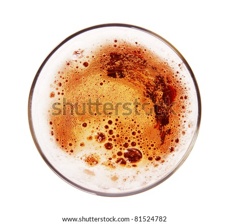 Glass of beer, top view,Isolated on white background - stock photo