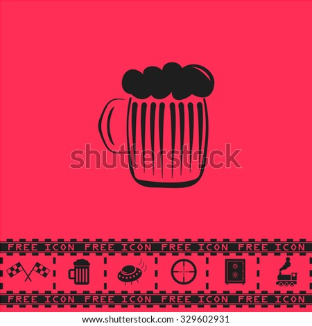 Glass of beer with foam. Black flat illustration pictogram and bonus icon - Racing flag, Beer mug, Ufo fly, Sniper sight, Safe, Train on pink background - stock photo