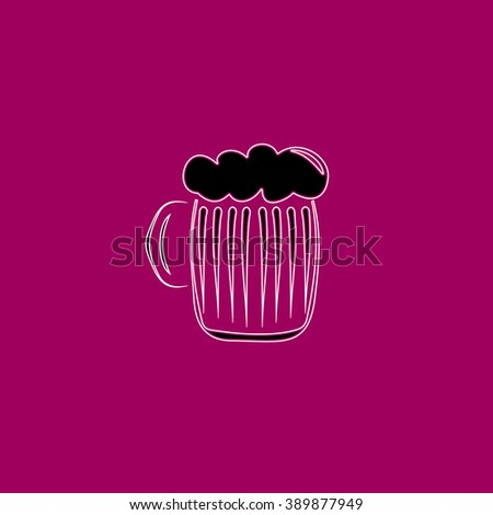 Glass of beer with foam. Black simple flat icon with white stroke - stock photo