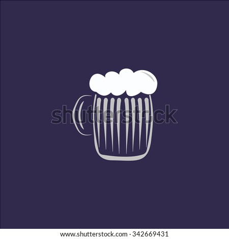 Glass of beer with foam. Colorful retro flat icon - stock photo