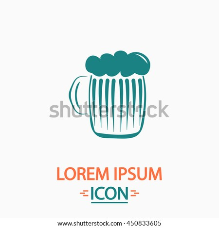 Glass of beer with foam. Flat icon on white background. Simple illustration - stock photo