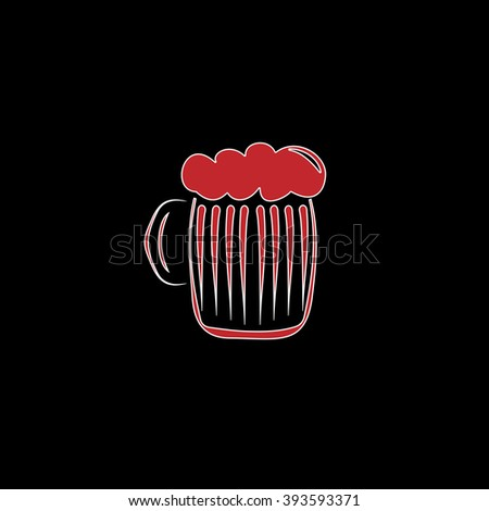 Glass of beer with foam. flat symbol pictogram on black background. red simple icon with white stroke - stock photo