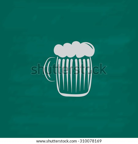 Glass of beer with foam.  Icon. Imitation draw with white chalk on green chalkboard. Flat Pictogram and School board background. Illustration symbol - stock photo