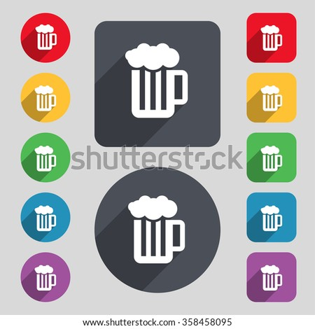 Glass of beer with foam icon sign. A set of 12 colored buttons and a long shadow. Flat design. illustration - stock photo