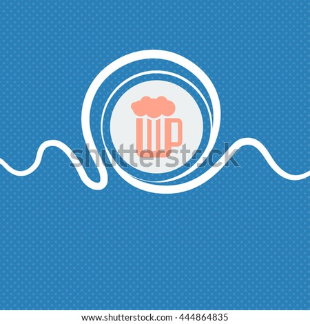 Glass of beer with foam icon sign. Blue and white abstract background flecked with space for text and your design. illustration - stock photo