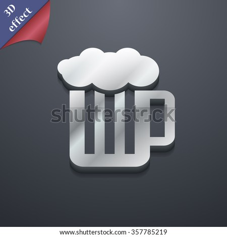 Glass of beer with foam icon symbol. 3D style. Trendy, modern design with space for your text illustration - stock photo