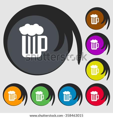 Glass of beer with foam icon. Symbols on eight colored buttons. illustration - stock photo