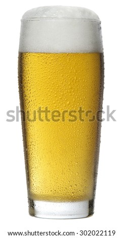 Glass of Beer with Foam isolated on white background - stock photo