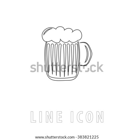 Glass of beer with foam. Outline simple pictogram on white. Line icon - stock photo