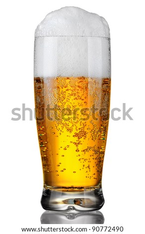 glass of beer with froth over white background - stock photo