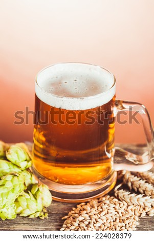 Glass of beer with hops and barley on the wooden table - stock photo