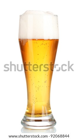 Glass of beer with isolated on white - stock photo