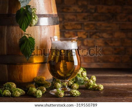 Glass of beer with space for your text - stock photo