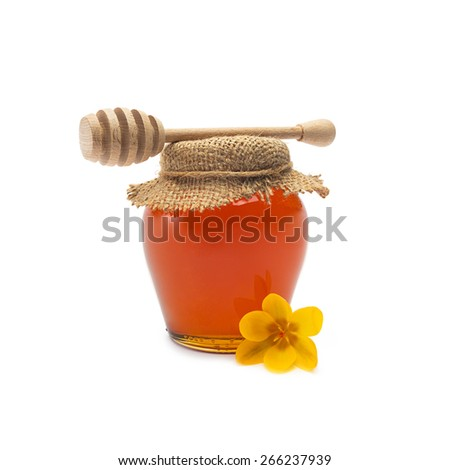 glass of bio honey with wooden honey dipper isolated on white - stock photo