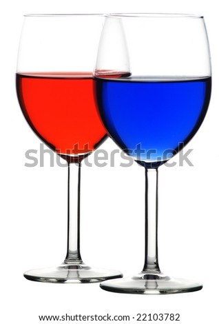 Glass of blue and red liquid