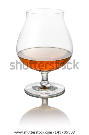 glass of brandy on a white background - stock photo