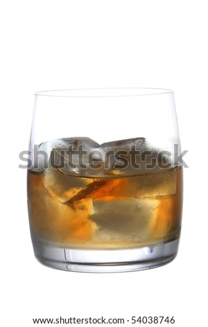 Glass of brandy or whisky on white background - stock photo