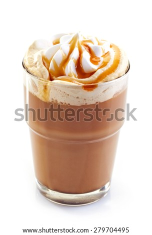 glass of caramel latte coffee with whipped cream isolated on white background - stock photo