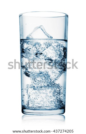 Glass of carbonated water with ice isolated on white background