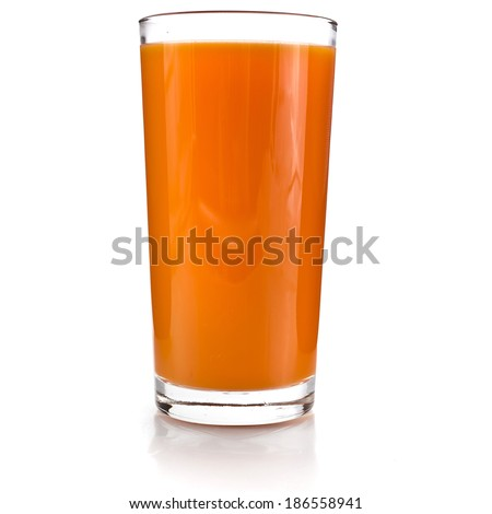 glass of carrot juice and fresh carrots grated isolated on white background - stock photo