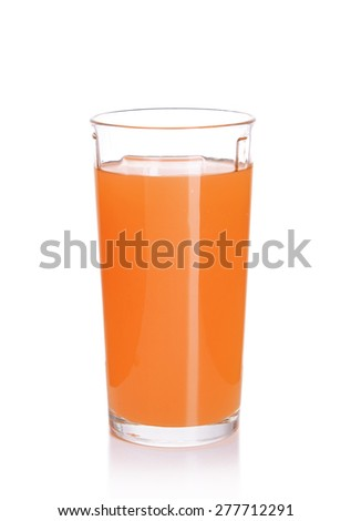 Glass of carrot juice isolated on white - stock photo