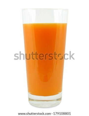 glass of carrot juice on a white background