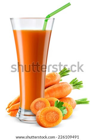 Glass of carrot juice with fruit isolated on white. - stock photo