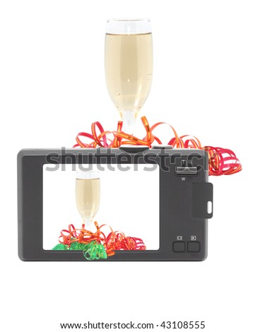 Glass of champagne. Compact digital camera. Isolated object. - stock photo