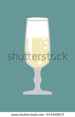 Glass of champagne. Glass for wine. Bowl with white sparkling wine - stock photo