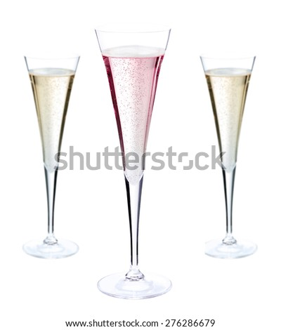 glass of champagne, isolated - stock photo