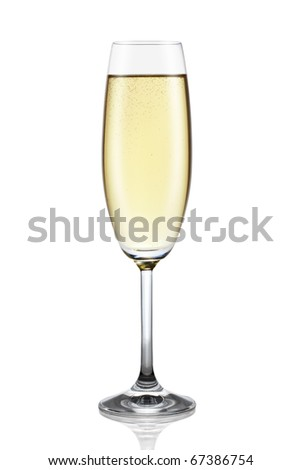 Glass of champagne isolated on the white background, clipping path included. - stock photo