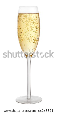 Glass of champagne isolated on white background - stock photo