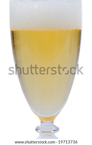 Glass of champagne on a over white background