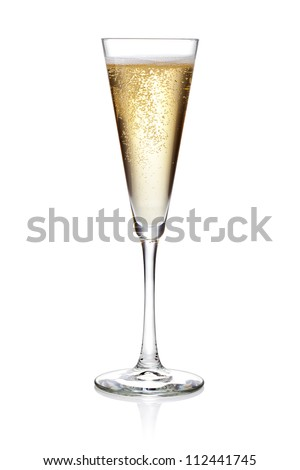 Glass of champagne on a white background - stock photo