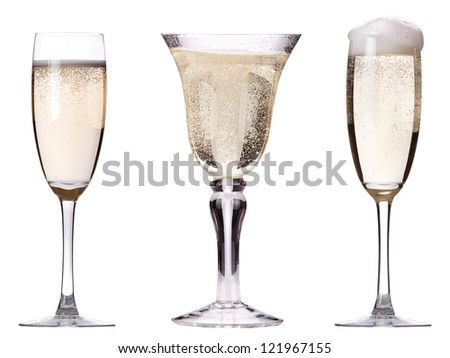 glass of champagne set isolated on a white background