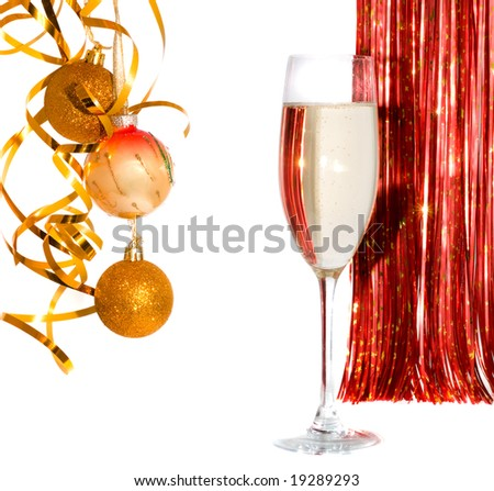 Glass of champagne with New Year's decor. Isolation